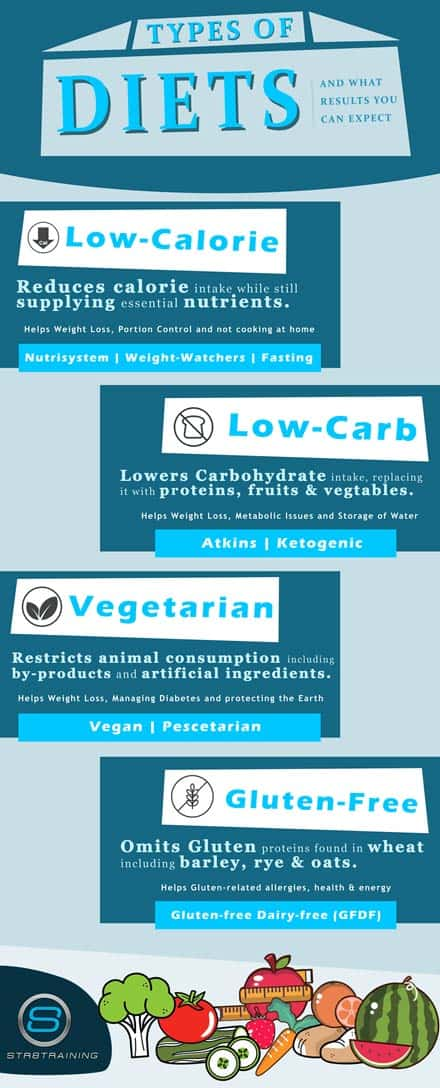 Types of Diets Infographic. Continue reading post for text version of information.