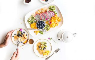 a healthy breakfast full of fruits and vegetables