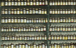 Bottles of supplements on a store shelf